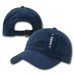 Navy Blue Low Crown Brushed Plain Solid Blank Golf ...