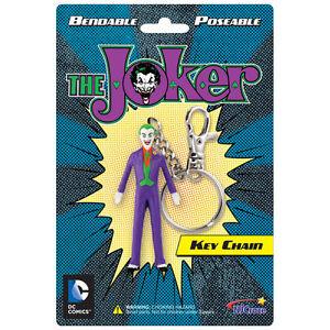 """THE JOKER BATMAN DC COMICS 3"""" ACTION FIGURE RUBBER POSABLE BENDABLE KEYCHAIN"""