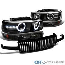 1999-2002 Chevy Silverado Black Projector Headlights+Bumper Lamp+Vertical Grille