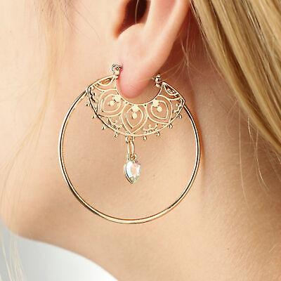 Large Hoop Earrings Circles Yellow Vintage Jewelry Gift