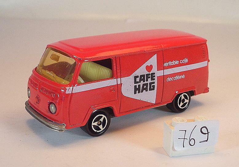 Majorette 1 60 no 244 VW Volkswagen t2 FOURGON Box Red Cafe HAG No. 4