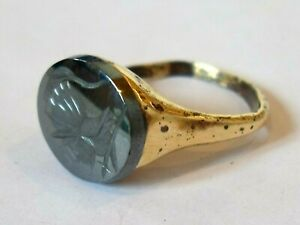 X-MAS-GIFTS-DETECTOR-FIND-amp-POLISHED-200-400-AD-ROMAN-BRONZE-RING-WITH-INTAGLIO