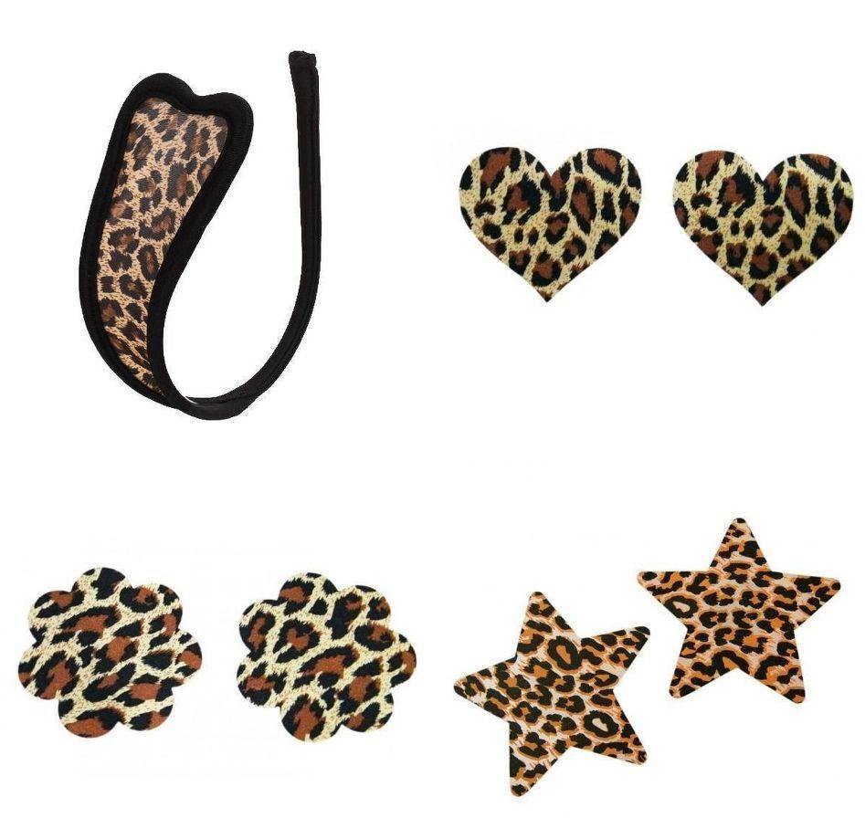 C-string c string burlesque léopard leopard + 3 paires de cache tétons nippies