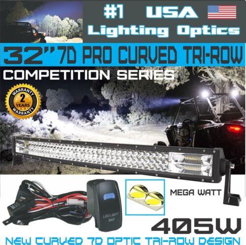 "No.1 Pro Tri-Row 32/"" Curved 7D 408W LED Light Bar 40,800LM RZR XP1000"