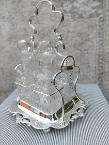 Exceptional Art Nouveau Antique English Condiment Set Fine Crystal Silver Plate