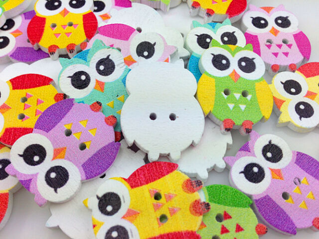 HOT 10-100pcs MIX Owl Pattern Wooden Buttons Fit Sewing and Scrapbook 25.00mm