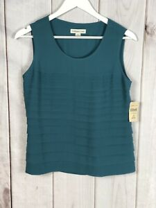 Coldwater-Creek-Womens-Lined-Teal-Sleeveless-Pleated-Blouse-Top-Size-XS-4-NWT