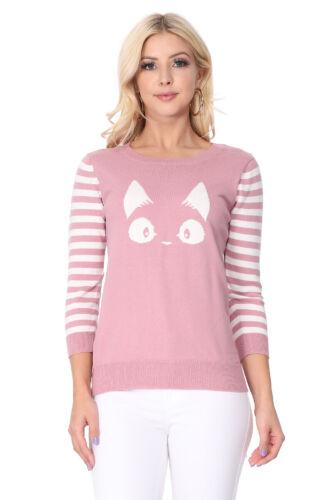 S-L YEMAK Women/'s Cute Cat Pattern Striped 3//4 Sleeve Pullover Sweater MK3375