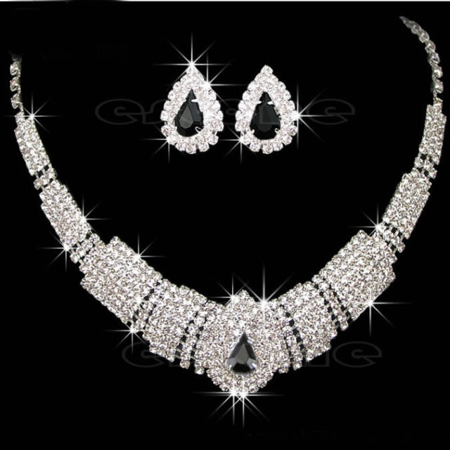 Charming Prom Wedding Bridal Jewelry Crystal Rhinestone Necklace Earring Sets