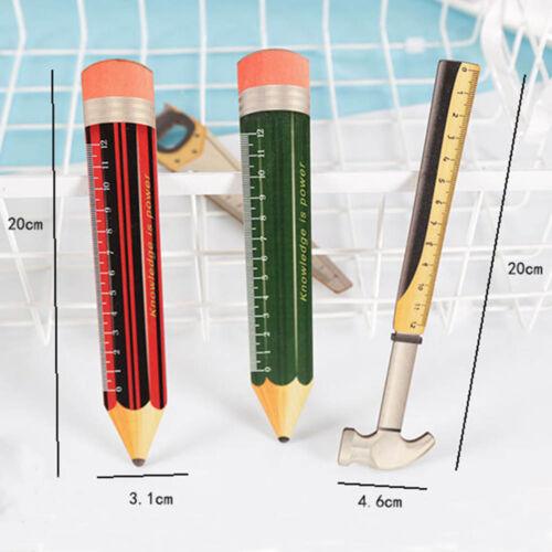 1Pc drôle en Bois Outil École Bureau Crayon Forme Règle Outil de mesure Fournitures