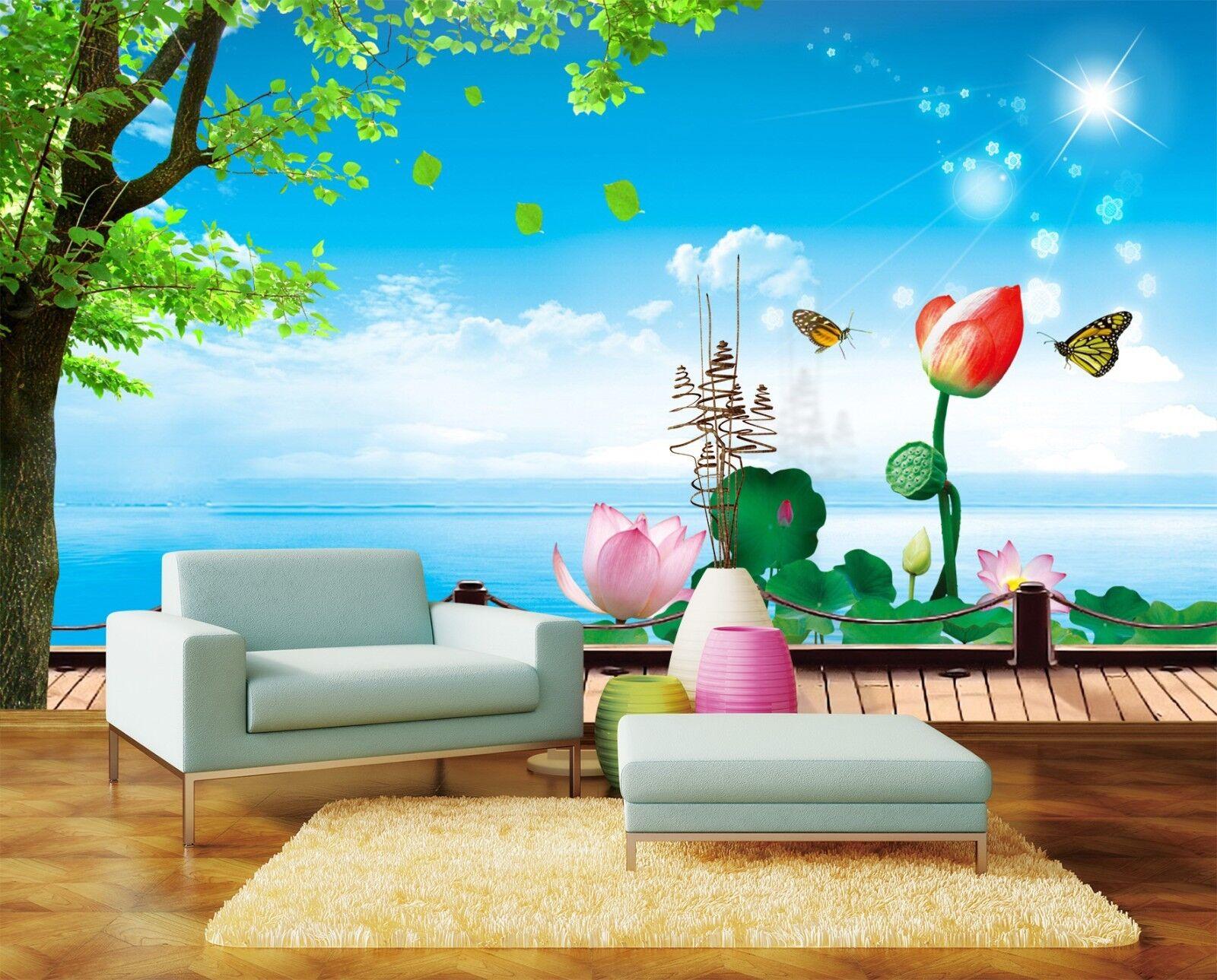 3D Blauen Himmels Teich Lotos 8 Tapete Wandgemälde Tapeten Bild Familie DE Lemon  | Online Outlet Store  | Passend In Der Farbe  | Primäre Qualität