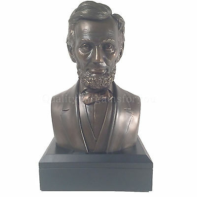 "Large Abraham Lincoln President Bust Statue Sculpture Figure 11"" Tall - MINT"
