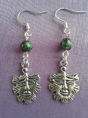 GREEN MAN WICCAN PAGAN Sterling Silver Earrings + CHOICE OF 10 CHAKRA CRYSTALS!