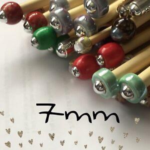 grano 1 Agujas de Tejer de Bambú con cuentas de par//Gancho Tamaño 6.5 mm Elija Longitud tamaño