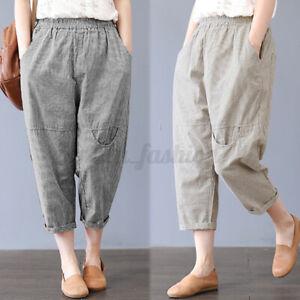 ZANZEA-Femme-Pantalons-Taille-elastique-a-rayures-Decontracte-lache-Ample-Plus