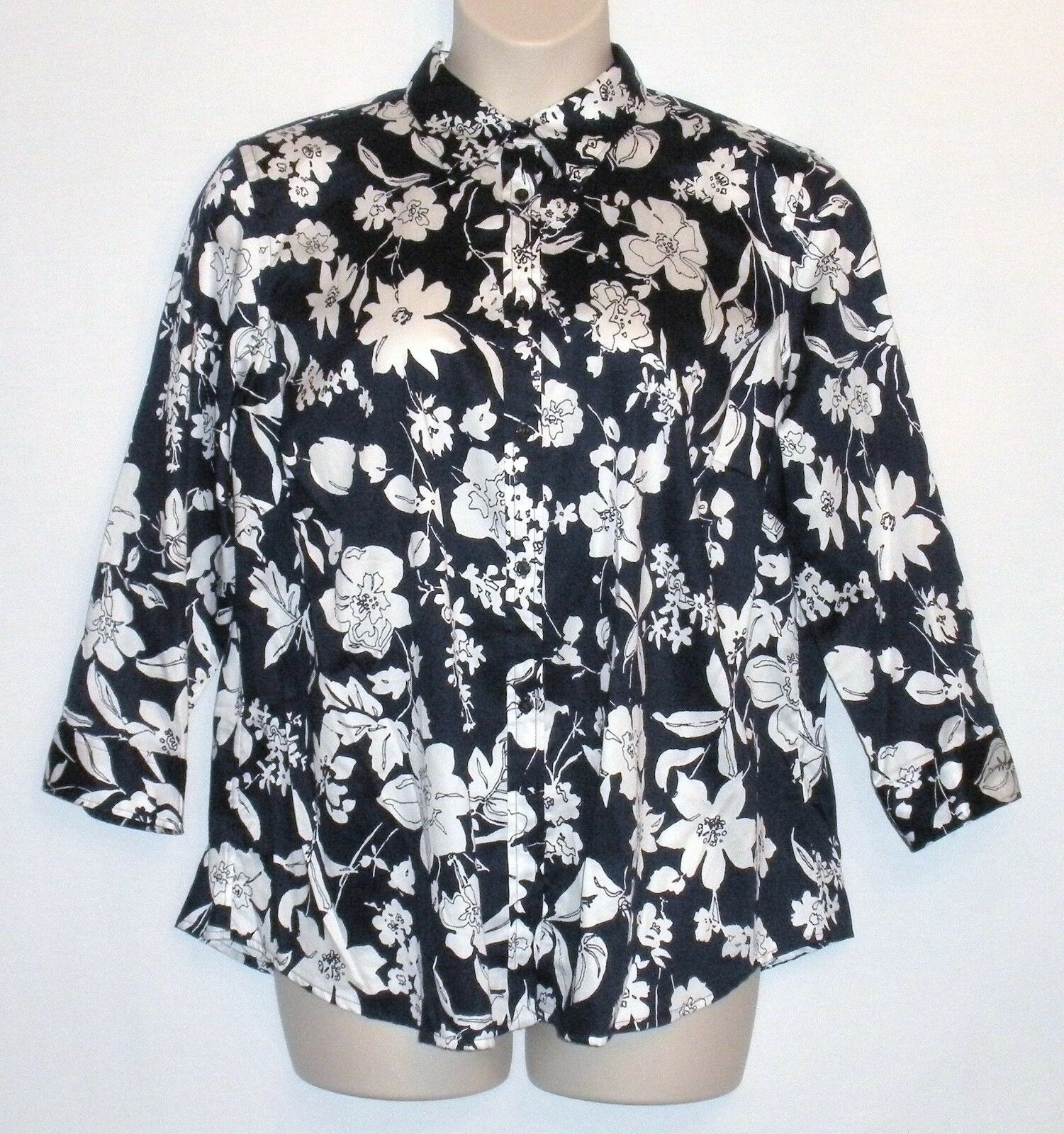 NWT MSRP  LAUREN RALPH LAUREN Floral Print Button Shirt, Navy Pearl, PLUS