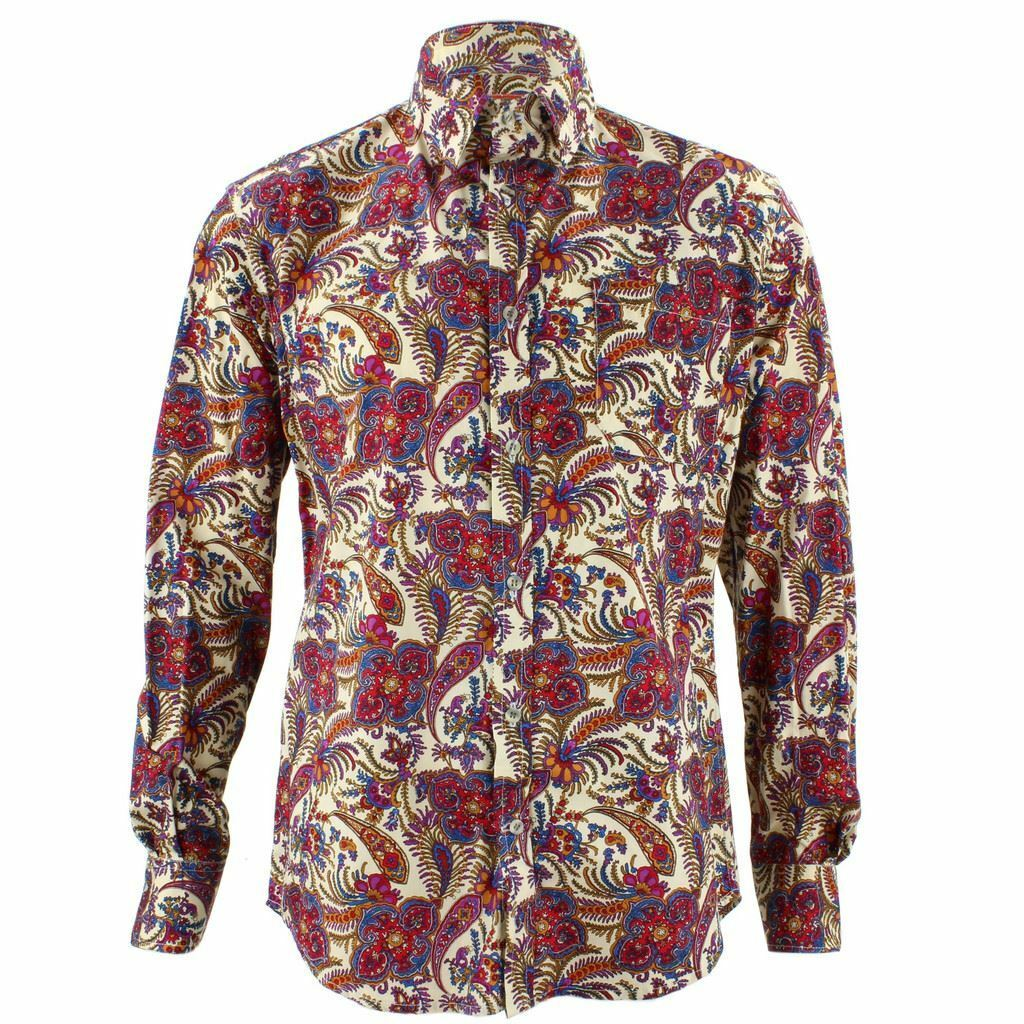 Mens Loud Shirt Retro Psychedelic Funky Party TAILORED FIT Indian Floral