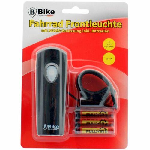 Fahrrad Frontleuchte mit StVZO-Zulassung inkl Batterien 20 LUX