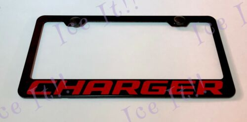 CHARGER DODGE CHALLENGER Stainless Steel Black License Plate Frame W// Caps