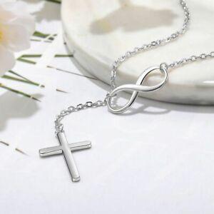 Schicke Halskette mit Kreuz-Anhänger Echt Sterling Silber 925 Neu