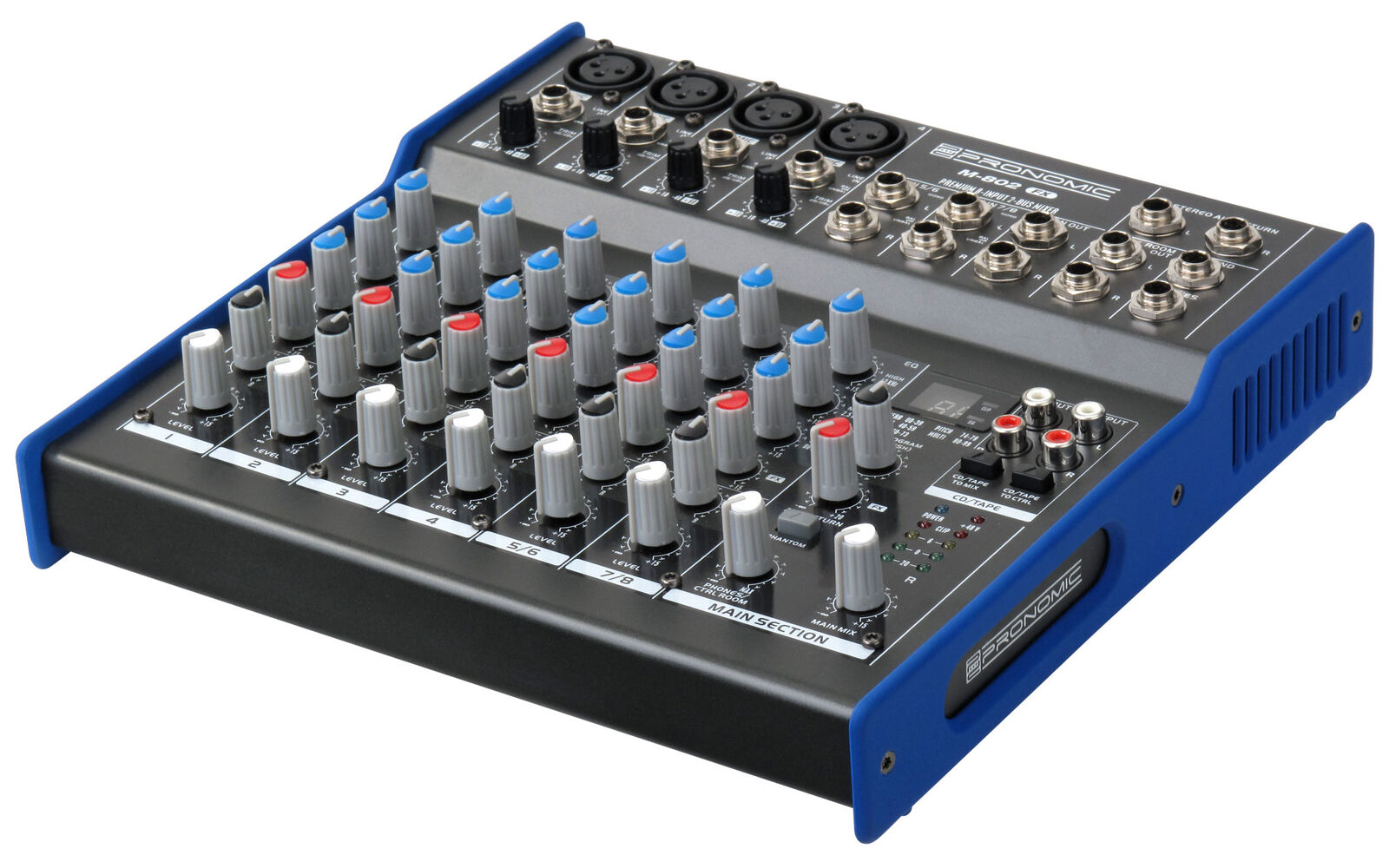 8 Channel Stereo Music Mixer Mixing Unit XLR Jack Dj Pa FX Output Live Rehersal