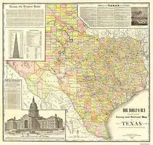 Map Of Texas Railroads.Details About Texas Counties And Railroads Rand Mcnally 1891 24 25 X 23