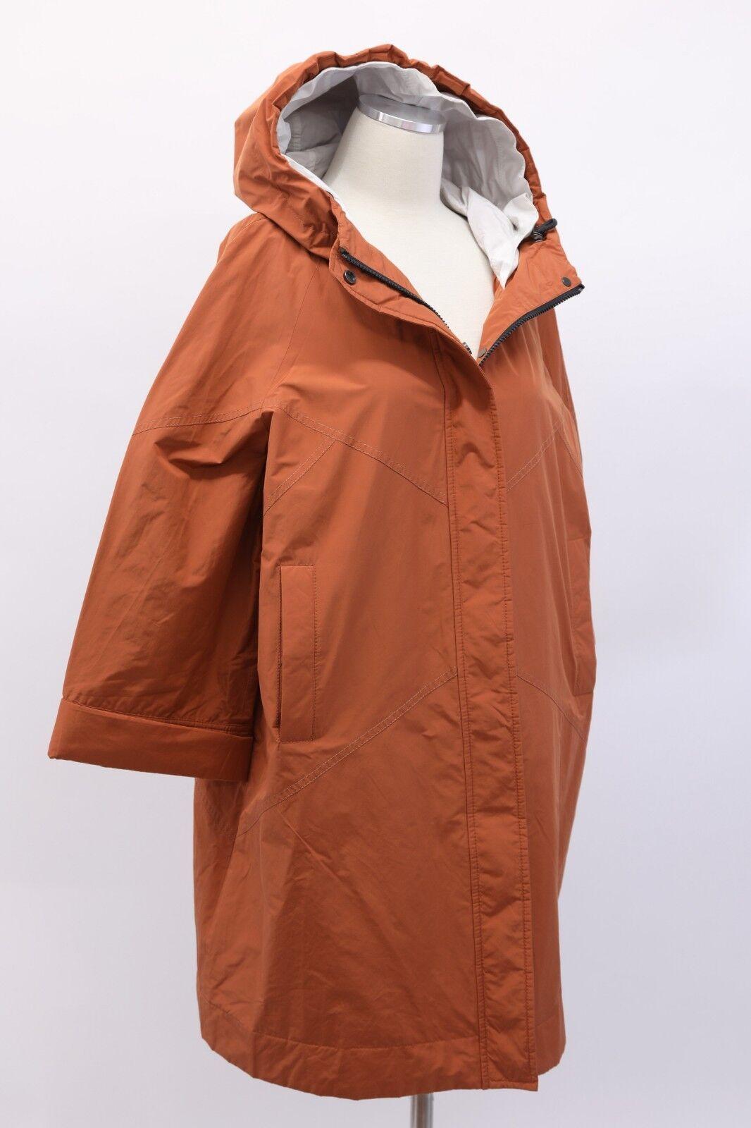 NWT 3195 Brunello Cucinelli Monili Bead Hooded Overcoat W Logo Details 42 M A186