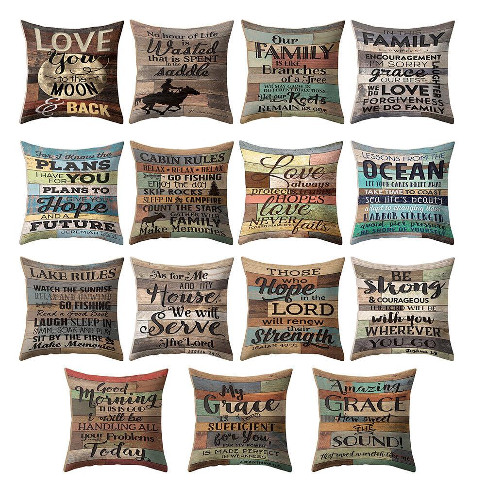 "18"" Plaid Decorative Vintage Linen Pillow Case Sofa Waist Throw Cushion Cover"