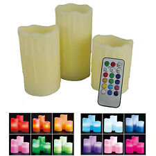 3 Smooth/Drip Flickering Flame LED Flameless Wax Mood Colour Ivory Candles Xmas
