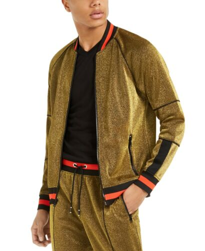 INC International Concepts Men/'s Disco Track Jacket Gold Size Large