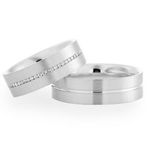 9ct-White-Gold-Diamond-Set-Band-His-and-Hers-set-of-Wedding-Rings-Satin-Finish