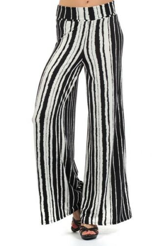 New Distressed Striped Wide Leg High Waist Fold Over Palazzo Flare Lounge Pants