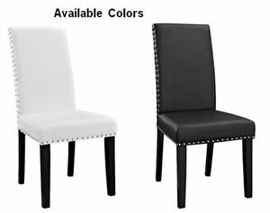 Details About New Faux Leather Dining Chair With Nailheads White Or Black