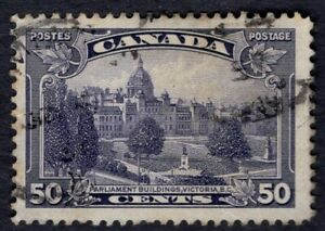 Canada used #226 50c   Parliament Buildings  KG V PICTORIAL ISSUE 1935