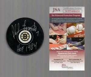 Phil-Esposito-Signed-Autograph-BRUINS-LOGO-Puck-W-HOF-1984-JSA-WPP408424