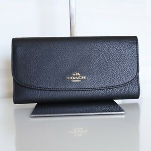 NWT-Coach-F16613-Black-Pebbled-Leather-Checkbook-Wallet