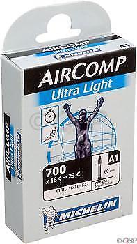 700x18-23mm 60mm Presta Valve Michelin AirComp Ultra Light Tube