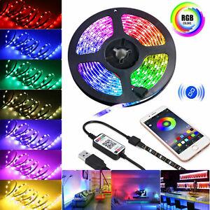 5V-USB-Power-LED-Strip-Lights-5050-RGB-TV-Backlight-Bluetooth-APP-Remote-Music