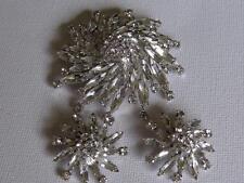 Vintage Signed Sherman Crystal Starburst Brooch & Clip Earrings   15-176
