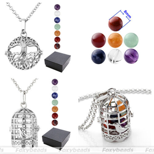 Charm Tree of Life//Birdcage Openable Locket 7 Chakra Chain Necklace Pendant