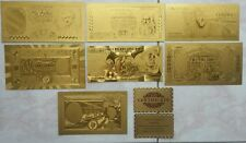LOTTO DI 7 BANCONOTE LIRA IN FOGLIA D'ORO 24KT SET COMPLETO CON CERTIFICATO GOLD