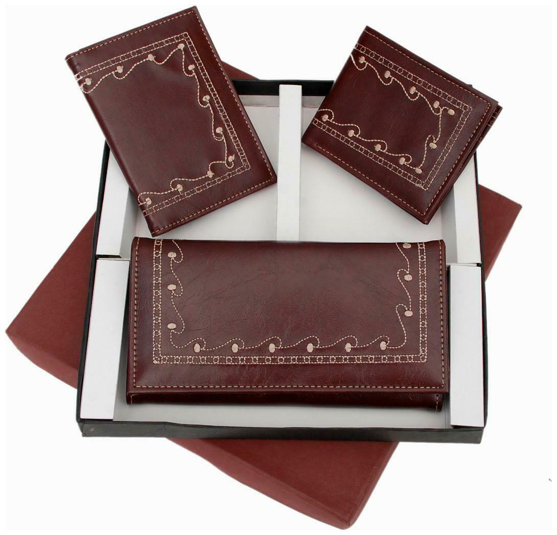 Three-In-One Embroidery Leatherette Wallet, Gents Wallet and a Passport-qLo