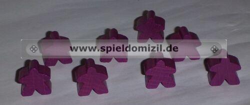 NEU 8 CARCASSONNE MEEPLES Original GEFOLGSLEUTE Holz Figuren in LILA violett