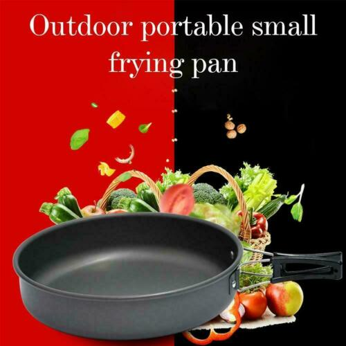 Outdoor Camping T3E9 Lightweight Titanium Frying Pan w// Foldable Handle 33 5cm