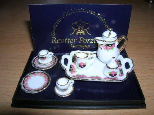 Reutter Porzellan Coffee Service Black Rose Coffee Set Black Dollhouse 1:12