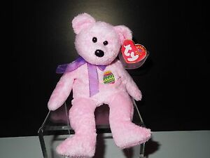 NWT Retired Ty Eggs Pink Easter Bear Beanie Baby DOB: April 23, 2000
