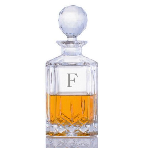 Monogrammed Personalized Crystalize Custom Cut Crystal Whiskey Liquor Decanter