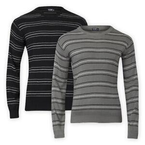 Mens Stripe Design Crew Neck Knitted Jumper Regular Long Sleeve Black Grey Top