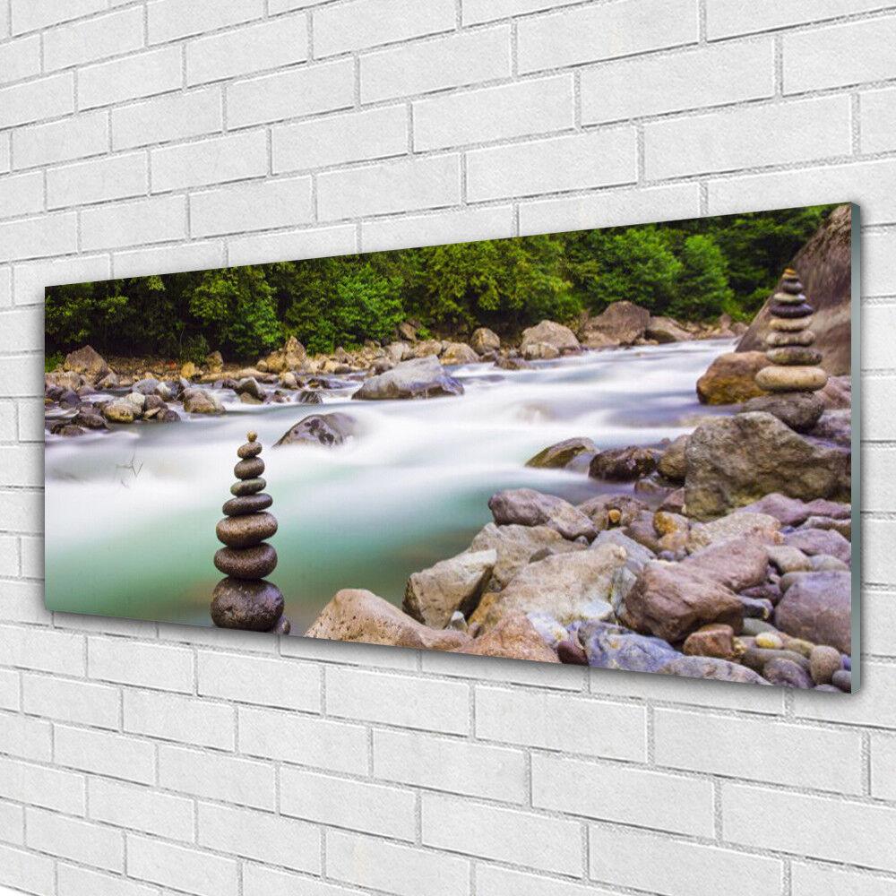 Impression sur verre Image tableaux 125x50 Paysage Forêt Pierres Lac