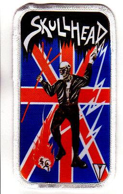 "SKULLHEAD 2.5"" x 4.5"" IRON ON PATCH oi! skinhead rock o rama rebelles europeens"